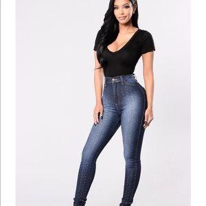 Fashion Nova diamond studded jeans